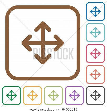 Move simple icons in color rounded square frames on white background