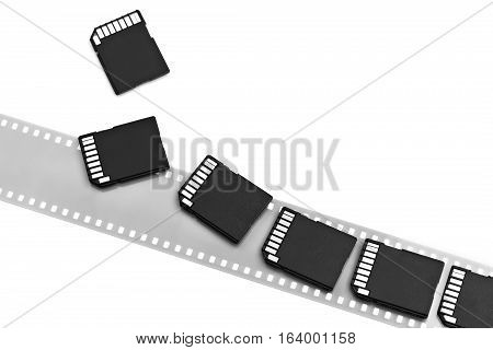 Old Film And Modern Digital Compact Sd Cards Isolated