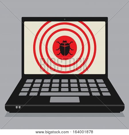 Laptop or notebook computer business concept with computer virus sign or symbol vector illustration