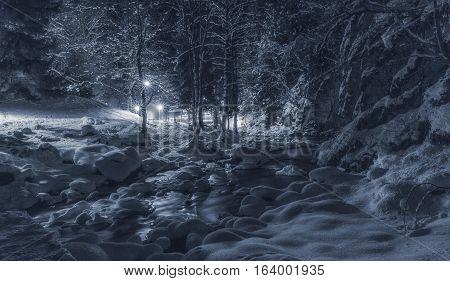 Sulphur Springs in the forest at night. Natsionalny Park Borjomi. Georgia