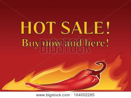 Vector hot chilly pepper on fire background. Hot price and sale special tag or badge business promotion.