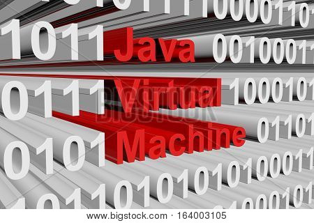 Java virtual machine in the form of binary code, 3D illustration