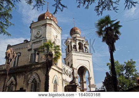 Villa Aloisi. Abandoned mansion in oriental style. Concept of Tale 1001 Arabian Nights. Sukhum, Abkhazia
