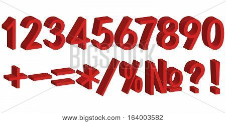 3D number figure for festive decoration of sales volume font numbers vector template to create colorful sale