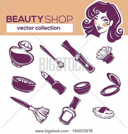 vector cosmetic collection eyeshadow lipstick nail polish rouge perfume