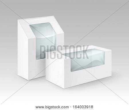 Vector Set of White Blank Cardboard Rectangle Take Away Boxes Packaging For Sandwich, Food, Gift, Other Products with Plastic Window Mock up Close up Isolated on White Background