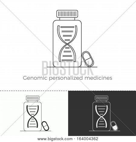 Vector illustration of future medicine trend. Medical gadgets and technological innovations. Thin line concept icon of genomic personalized medicines.