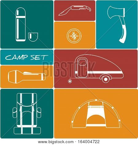 Set of Camping and Tourist Equipment/  Camping Vector Icons
