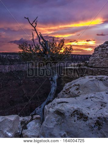 A sunset visible from the North Rim of the Grand Canyon.