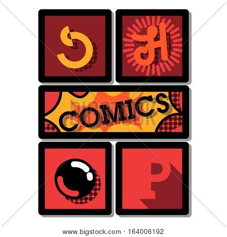 Color vintage comics shop emblem. Colorful vector illustration. Comic book style word isolated on white background.