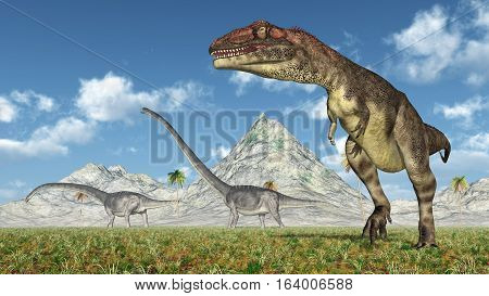 Computer generated 3D illustration with the dinosaurs Mapusaurus and Omeisaurus