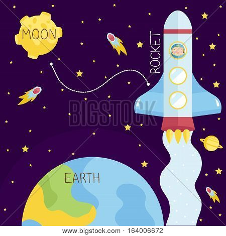 Interstellar flights in outer space. Spaceship with astronaut flying in cosmos from Earth to Moon with stars, comets, Saturn on background cartoon vector. Astronomic concept for childrens books