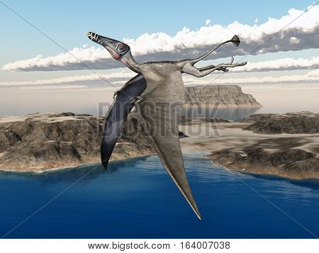 Computer generated 3D illustration with the pterosaur Dorygnathus