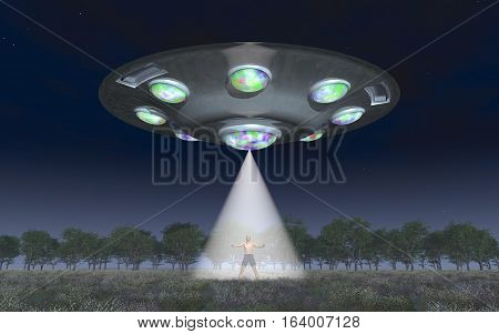 Computer generated 3D illustration with a man in the light beam of a flying saucer