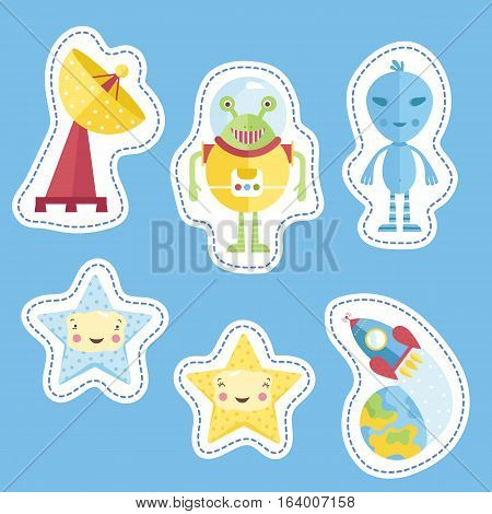 Space cartoon stickers. Antenna, blue and dressed in spacesuit aliens, spaceship flying from Earth, smiling cute stars vectors isolated on blue background. Counters, tokens for table games, price tags