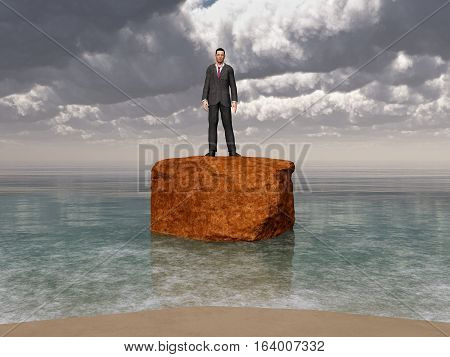 Computer generated 3D illustration with a businessman on a rock in the surf