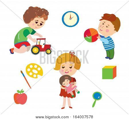 Kids and toys cartoons set - vector graphic illustration
