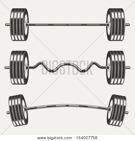 Fitness icons, set of  barbells  monochrome style on white background, vector