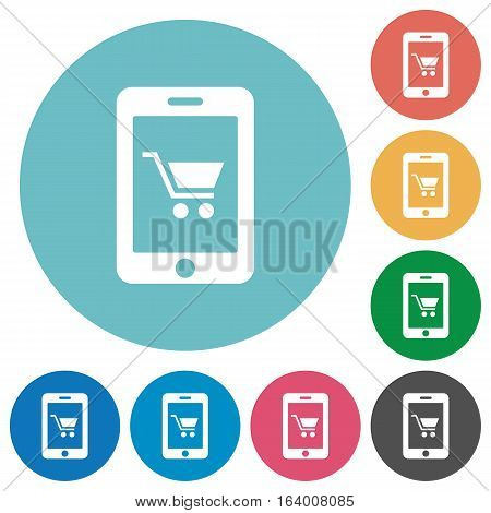 Mobile shopping flat white icons on round color backgrounds