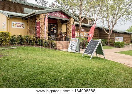 Pokolbin, Australia - Sep 29, 2016: Ye Olde General Store at the Hunter Valley Gardens Shopping Center, New South Wales. High resolution image.