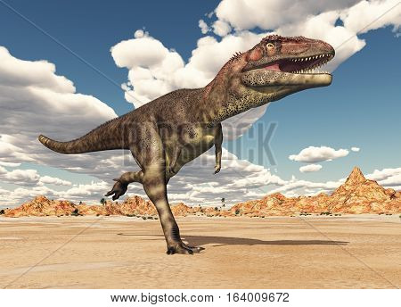 Computer generated 3D illustration with the dinosaur Mapusaurus