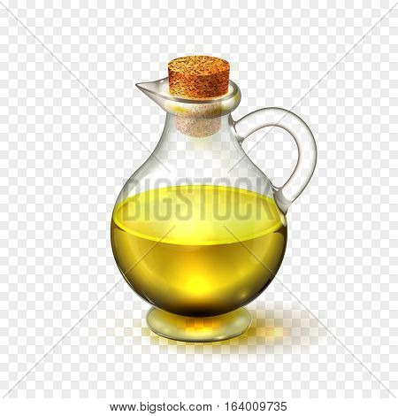 Realistic glass bottle of of olive or sunflower seed oil with a corck isolated on a transparent background. Vector illustration