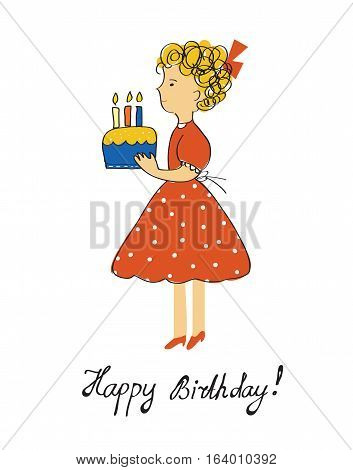 Birthday card with girl and cake for a child - vector graphic illustration design