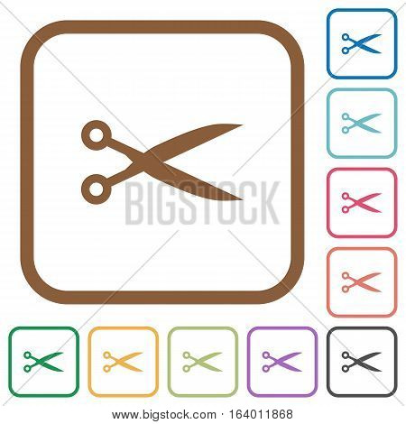 Cut simple icons in color rounded square frames on white background
