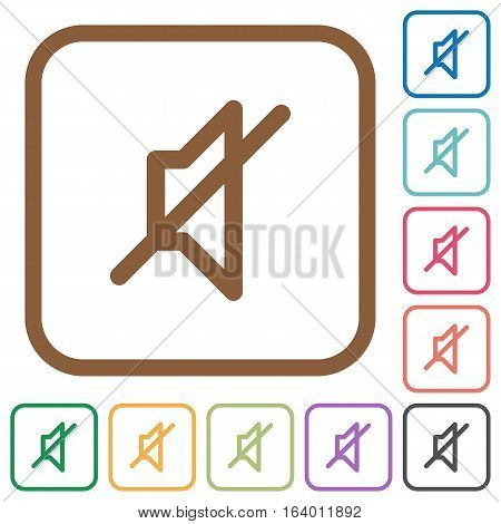 Mute simple icons in color rounded square frames on white background