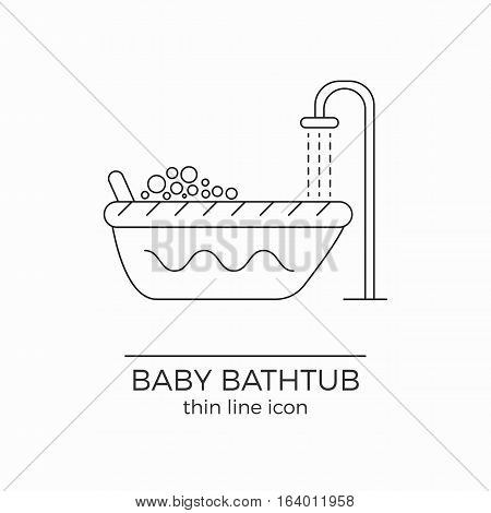 Baby bath vector line icon. Toddler bathtub sign. Newborn washing. With shower rain and bubbles.