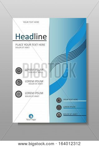 Blue modern annual report cover. Book layout design template A4. Presentation conference academic journal flyer magazine website Vector.