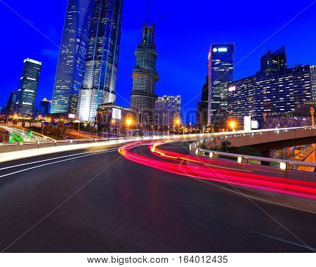 Empty Road Surface With Shanghai Lujiazui City Buildings