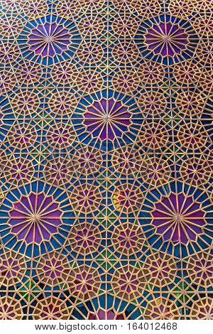 Details of Shah Cheragh Mosque and mausoleum Ahmadi square in Shiraz city in Iran