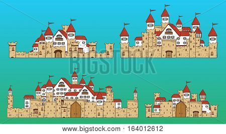 Vector cartoon cute creator castles. Set of medieval architecture with houses, towers, fences, walls, gates.