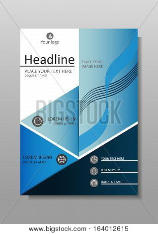 Blue A4 Business Book Cover Design Template. Good for Portfolio Brochure Annual Report Flyer Magazine Academic Journal Website Poster Monograph Corporate Presentation Conference Banner.