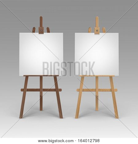 Vector Set of Wooden Brown Sienna Easels with Mock Up Empty Blank Square Canvases Isolated on Background