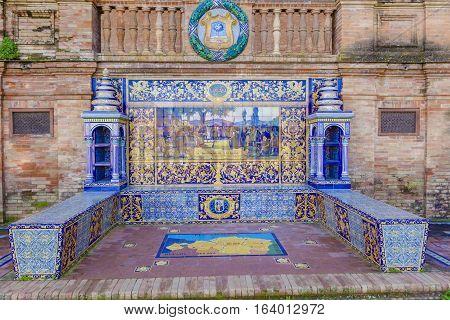 Seville, Spain - January 3, 2017:  Glazed tiles bench of spanish province of Vizcaya at Plaza de Espana Seville Spain