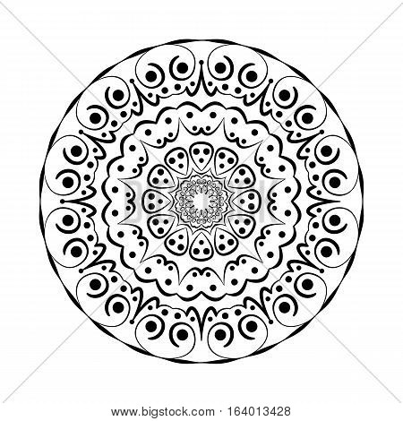Abstract flat black round twelve-axes vector design. Suitable for decoration.