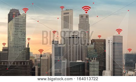 Concept of IOT and smart city illustrated by wireless networking and Wifi icon. poster