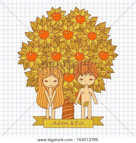 vector hand drawing color illustration of a biblical scene with Adam and Eve