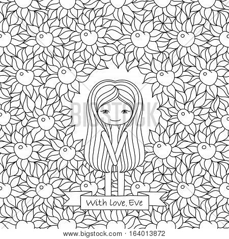 vector hand drawing illustration with Eve and floral background. Coloring book page for adults.