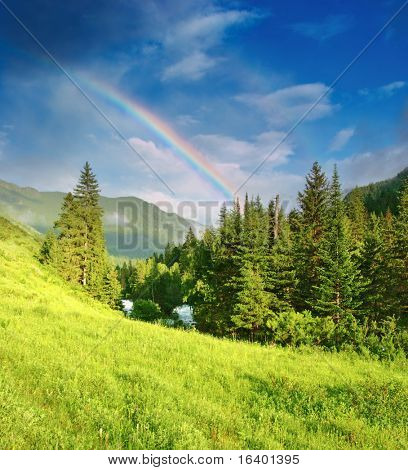 Mountain landscape with forest and rainbow