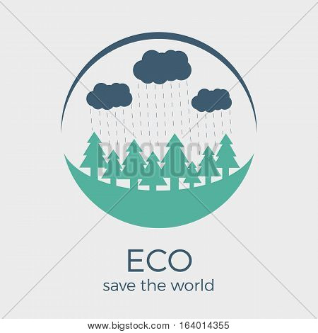 Vector eco style logo design in colors. Round shape with text. Can be used as eco-sign on product packages or as separate logo for eco-oriented organization
