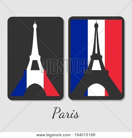 Vector illustration of Eiffel tower magnet design. Stylish elements with colors of antional flag. For souvenir design or print.