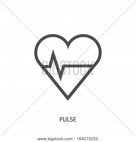 Vector logo design element on white background. Medical, heart, heart rate, cardiogram, minimal
