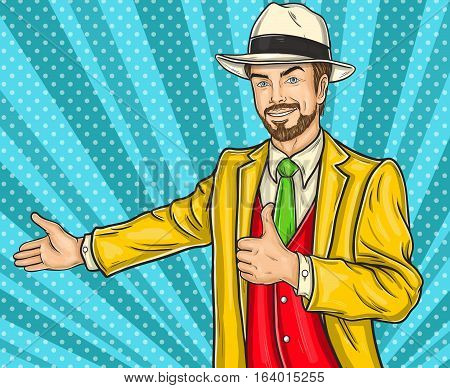 Vector illustration of a pop art hipster man in a hat invites you to the presentation