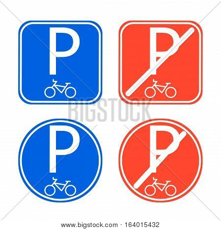 Bike parking sign allowed and disallowed vector. Blue and red bicycle park signs.