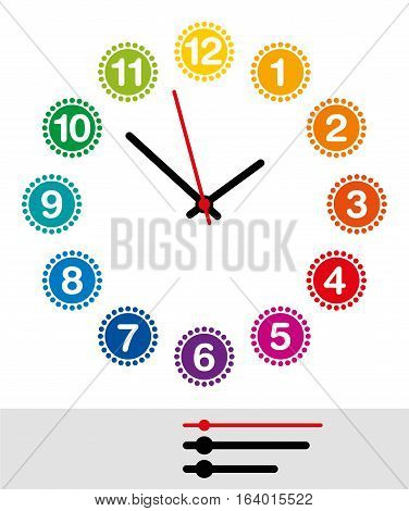 Rainbow colored clock face with numerals one to twelve. Analog clock and watch dial with black and red pointers showing hours, minutes and seconds. Isolated illustration on white background. Vector.