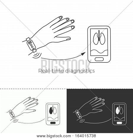Vector illustration of future medicine trend. Medical gadgets and technological innovations. Thin line concept icon. Real-time diagnostics through wearable gadgets.
