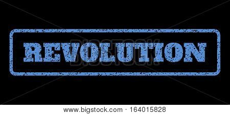 Blue rubber seal stamp with Revolution text. Vector message inside rounded rectangular frame. Grunge design and scratched texture for watermark labels. Horisontal sticker on a black background.